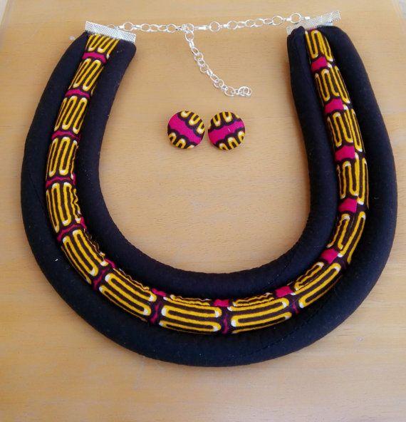 Pink black yellow wax print Dutch wax african by AnkaraKouture