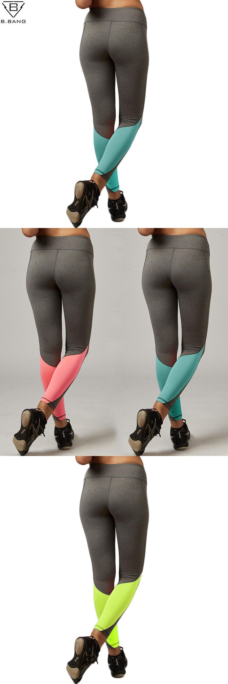 [Visit to Buy] B.BANG Women Sport Leggings Elastic Patchwork Pants for Running Gym Fitness Dry Quick Workout Capris pantalones mujer #Advertisement