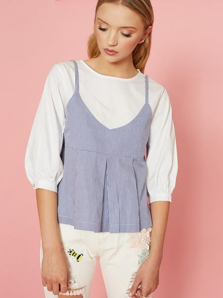 Dahlia Lois Two in One Top with White Top and Stripe Vest
