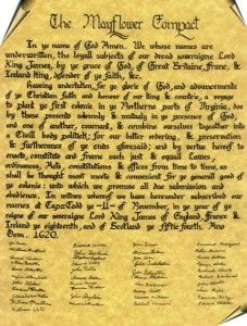 The Mayflower Compact signed by my ancestors John Alden, Francis Cooke, Stephen Hopkins, William Mullins, and Richard Warren.