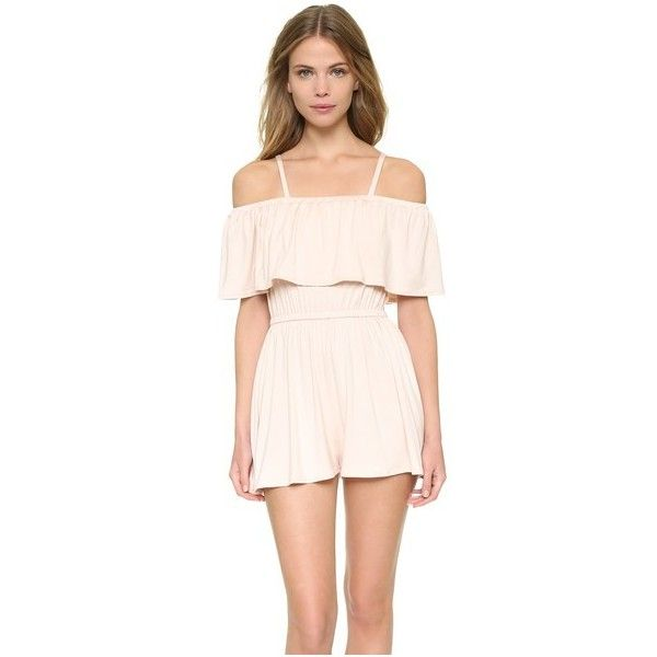 Rachel Pally Tobias Romper (£115) ❤ liked on Polyvore featuring jumpsuits, rompers, champagne, ruffle romper, rachel pally, playsuit romper and off the shoulder romper