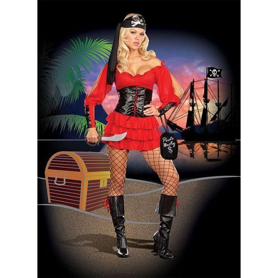 Sexy piraten kostuum voor dames. Stretch piraten jurkje in de kleur rood met zwart. Dit sexy jurkje bestaat verder uit het zwarte korset met rijg details en haaksluiting, hoofdband met zilveren opdruk, zwaard en buidel met opdruk. Carnavalskleding 2015 #carnaval