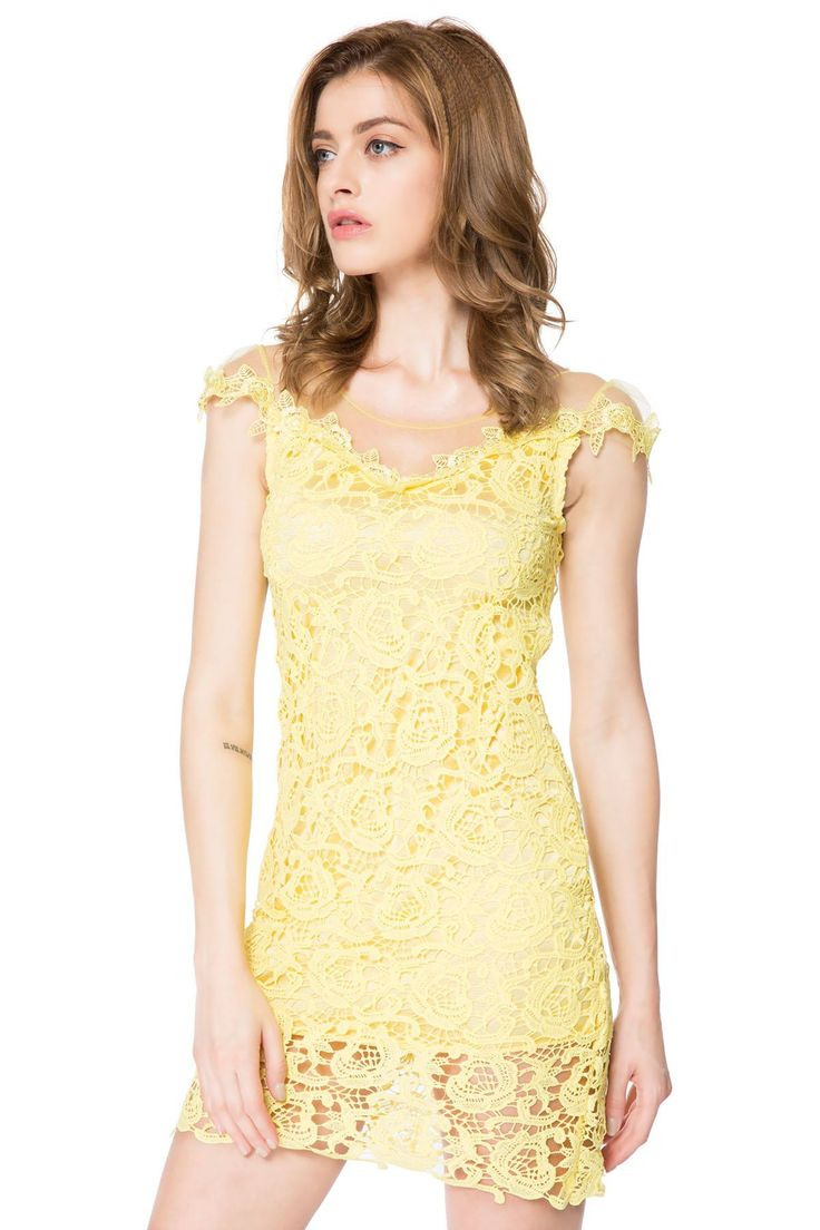 Sexy Women's Mesh Splicing Scoop Neck Short Sleeve Yellow Lace Dress #shoes, #jewelry, #women, #men, #hats, #watches