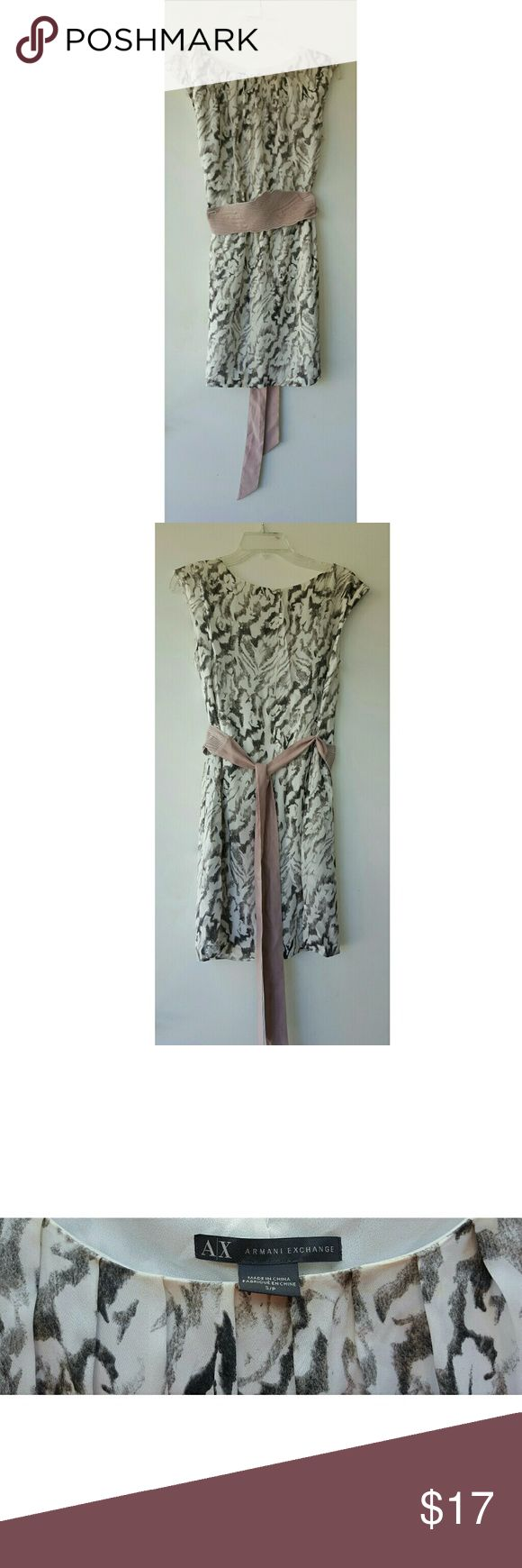 ARMANI EXHANGE Silk Dress Size Small Beautiful Animal Print Armani Exchange Silk Shift Dress Fully Lined with Pink Obi Belt  Can be styled with Gray Heels, Flat Sandals  or Wedges  Size Small  Only worn twice Armani Exchange Dresses Mini