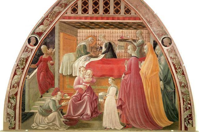 When Is the Virgin Mary's Birthday?: Birth of the Virgin, by Paolo di Dono detto a.k.a. Paolo Uccello, (1397-1475). Fresco, 1435-40. Museo dell' Opera del Duomo, Prato, Italy.