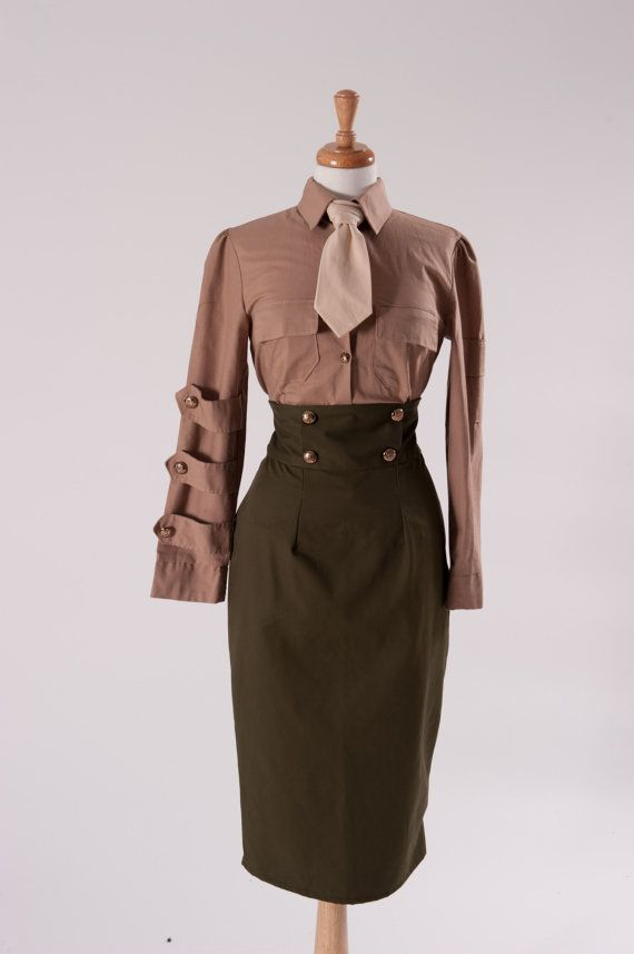 This military suit consists of shirt & tie, skirt cap, and jacket. The skirt & jacket are made of army green twill. The skirt is a high waist style