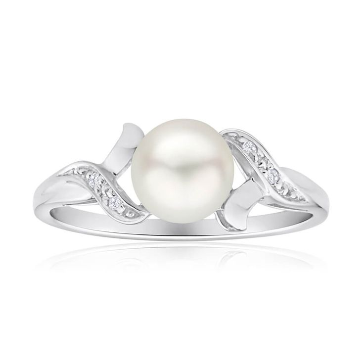 Cute and simple pearl and Diamonds Set Ring in 9ct White Gold