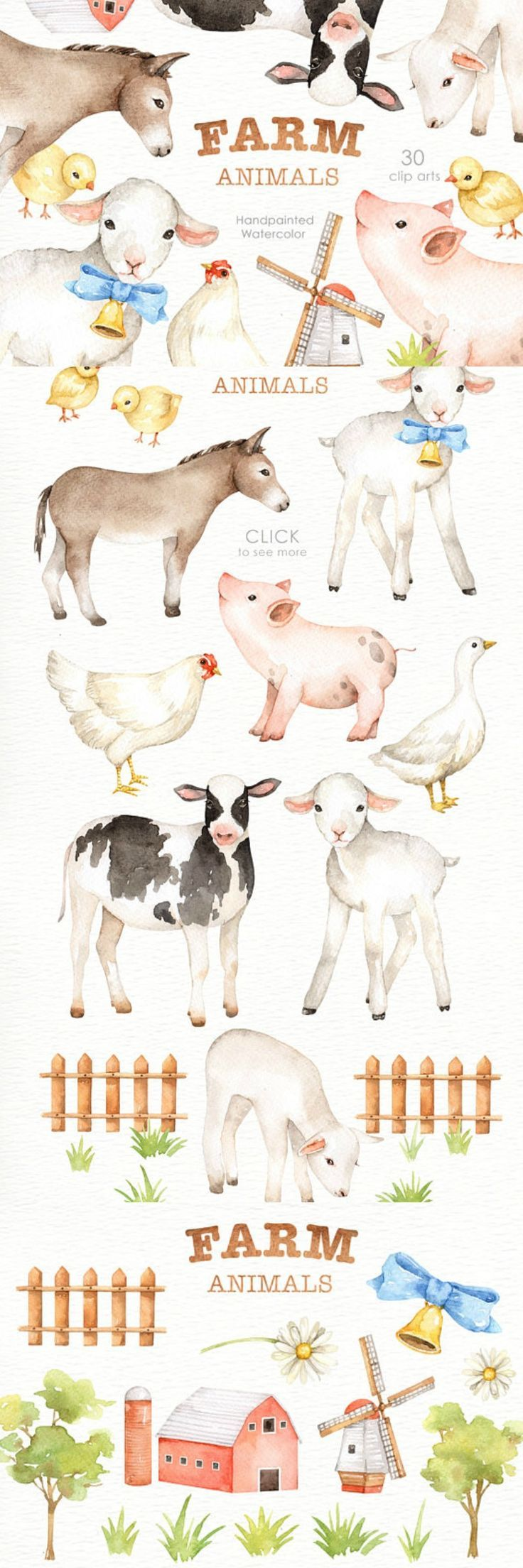 Farm Animals Watercolor clipart, Nursery Prints, Farm Animals Nursery Art, Nursery Printables, Instant Download, Woodland Animals, Kids Art