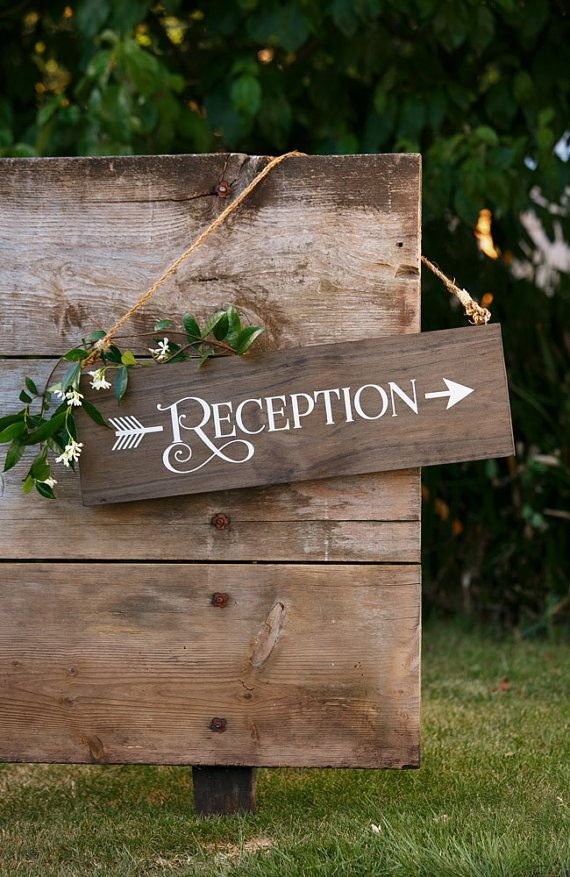 Rustic Chic Wedding Reception Wood Arrow Sign by UrbanFringeLiving