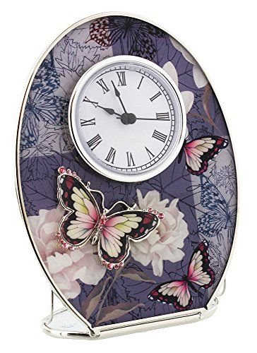 Beautiful Oval Mantel Clock with Purple and Pink Butterflies from Haysom Interiors