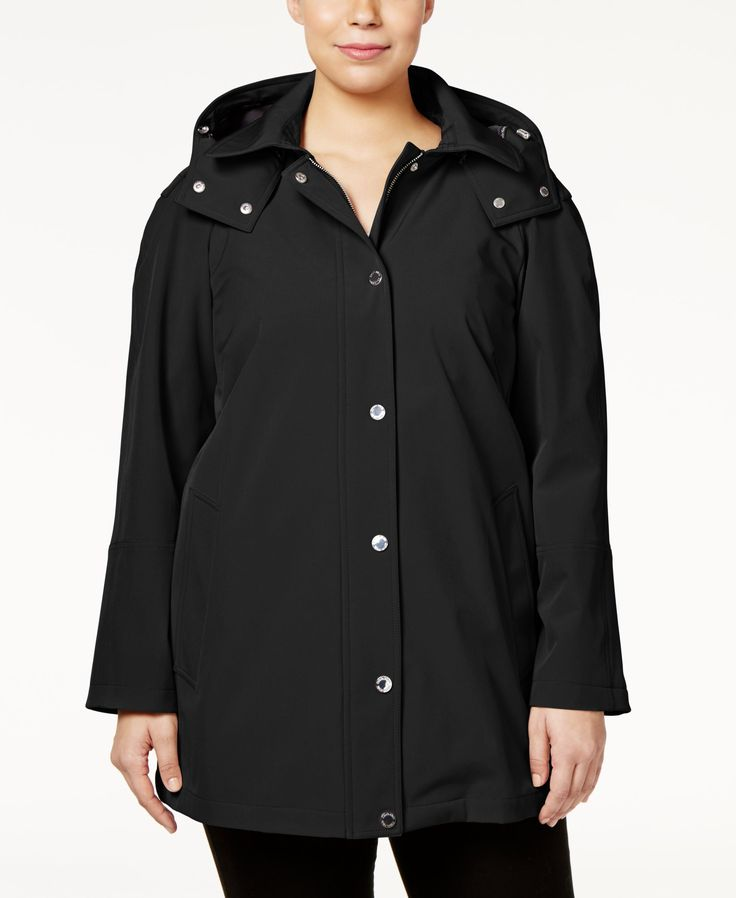Calvin Klein Plus Size Hooded A-Line Raincoat