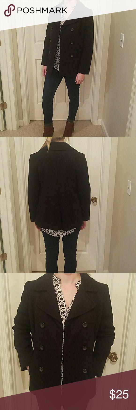 Black pea coat Gap black wool pea coat, women's M, teal satin liner GAP Jackets & Coats Pea Coats
