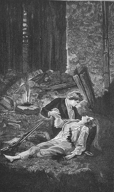 The death of Éponine during the June Rebellion, illustration from Victor Hugo's Les Misérables.