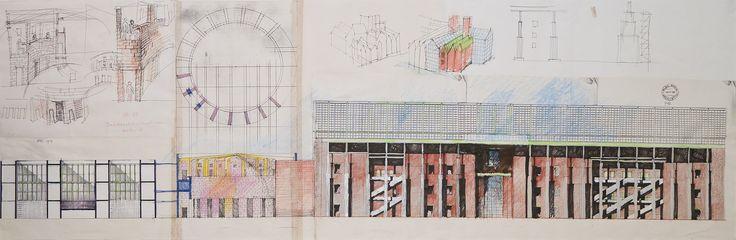 Aldo Rossi Deutsches Historisches Museum Section Berlin 1989 Mixed media on paper 66x152cm