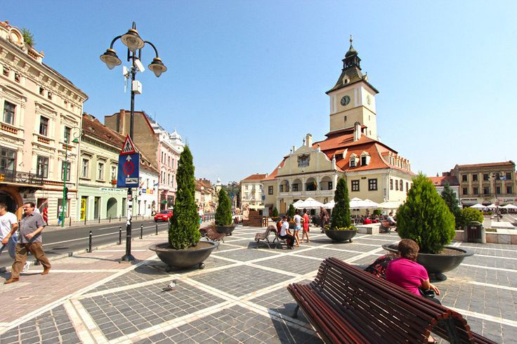 Stately City Hall in Brasov, Romania is the centerpiece of Piata Sfatului (Council Square) in the city's Old Town