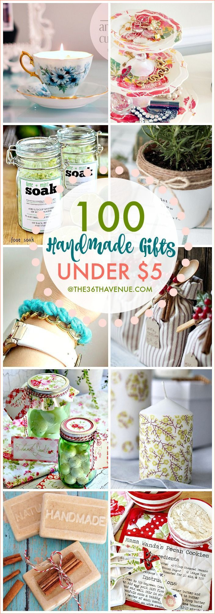 Over 100 Handmade Gifts that are perfect for Christmas gifts, birthday presents, and Mother's Day Gifts... These handmade gift ideas under five dollars are super easy to make, adorable, and affordable!