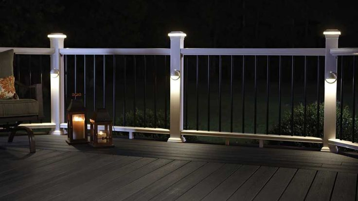 Illuminate your outdoor living space with the ambience of Fiberon low-voltage LED deck, rail and stair lighting. Remote control dimmers available.