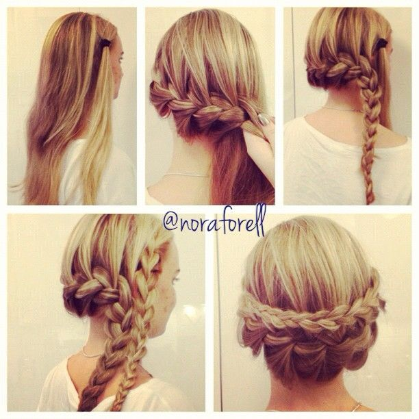 """""""1. Separate a piece of hair on the right side. 2. Take a chunk of hair from the left and start frenchbraiding towards the right side. 3 - 4. When you run…"""""""