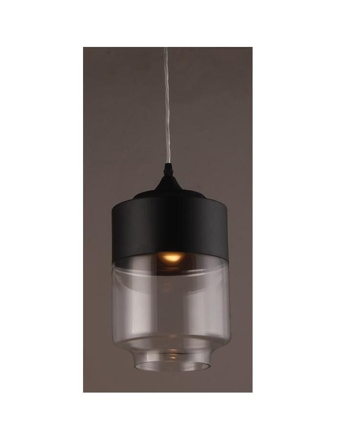 The Erina Iron and Glass Pendant Light features a matte black finished iron base that smoothly transistions into a glass shade. Great for kitchens and dining areas.