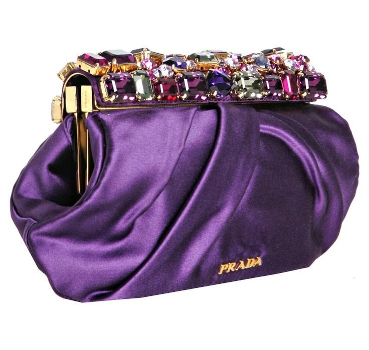 'Prada' Violet Satin Jeweled Clutch