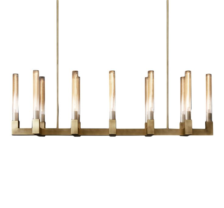 "Restoration Hardware Modern Design | Cannele 54"" linear chandelier in burnished brass; $3,035"