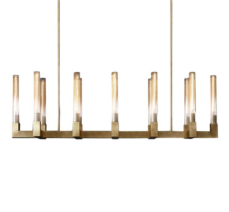 "Restoration Hardware Modern Design | Cannele 54"" linear chandelier in burnished brass; $3,035"