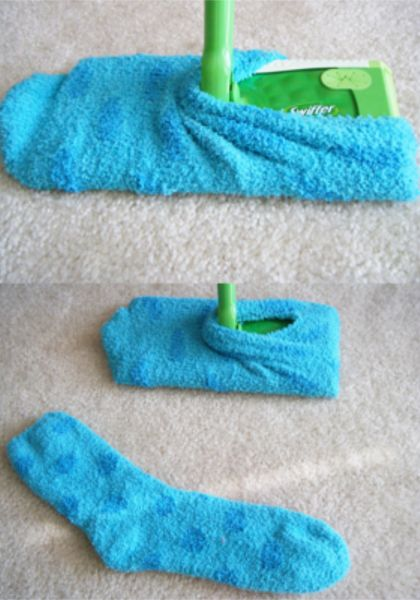Quit wasting money on expensive swifter replacement pads and make your own reusable duster pad from an old sock! OMG! there are tons of these at the Dollar Store!!   ~DIY Home Sweet Home
