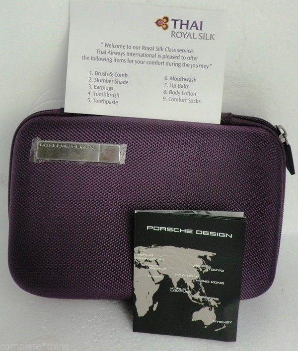Travel Amenity Kit Bag Set Thai Airways Airline TG, PORSCHE DESIGN New