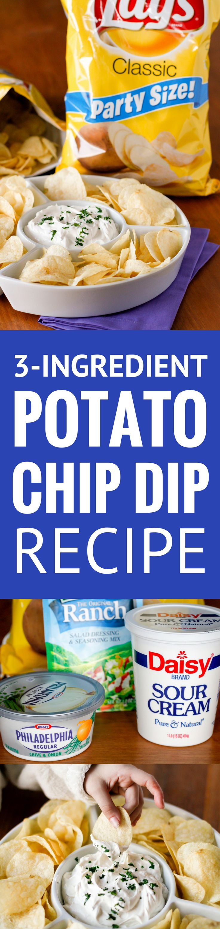 3-Ingredient Potato Chip Dip Recipe -- If you're a chips and dip junkie, you're going to LOVE this out-of-this-world 3-ingredient chip dip recipe... Perfect for tailgating and more! | easy chip dip | potato chip dip | cold chip dip | homemade chip dip | best chip dip | chip dip for parties | find the recipe on unsophisticook.com #chips #chipdip #easyrecipes #partyrecipes