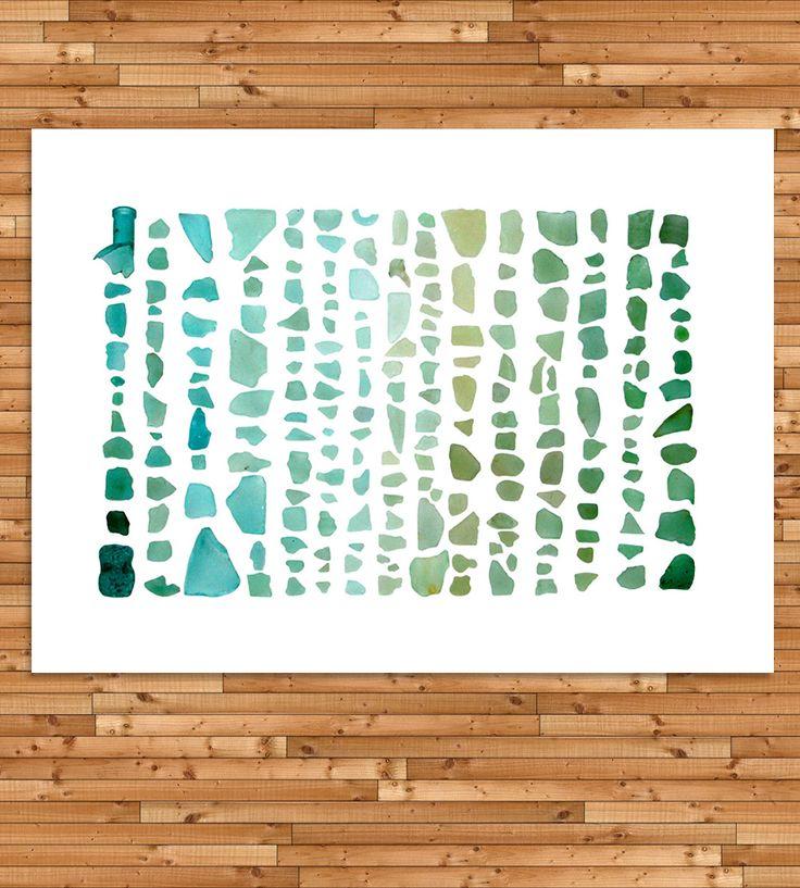 Sea Glass Spectrum Beachcombing Photo Art Print - Aquamarine to Emerald