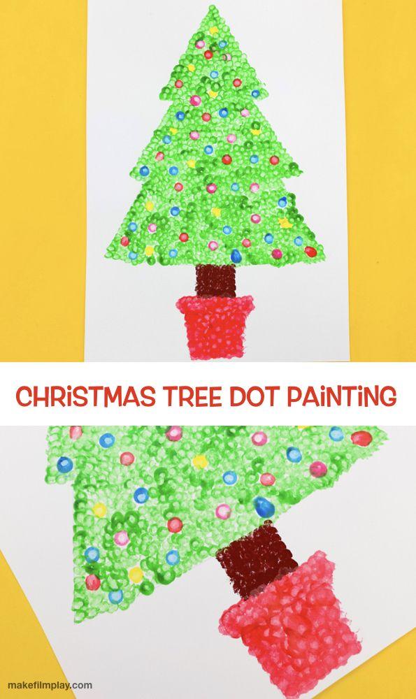 Christmas Tree Dot Painting Kids Painting Crafts Christmas Tree Art Christmas Tree Crafts