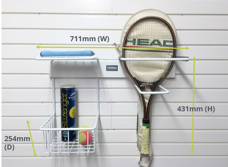 The FX2001 Tennis Rack with FlexiTrack is the complete solution for all your tennis storage needs. The package includes our Tennis Rack which provides storage for rackets along with balls, shoes etc., as well as our patented FlexiTrack which fixes directly to your garage wall.