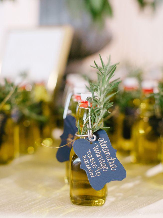 Mini olive oil wedding favors I The Happy Bloom