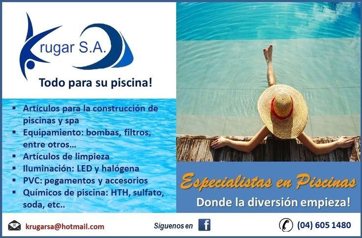 En @krugarsa tenemos el mayor surtido de productos de piscinas y jacuzzis: equipos, bombas de agua, filtros, clorinadores, accesorios de limpieza: cernideras, aspiradoras, mangos telescopicos, satelites, etc, químicos: cloro granulado, en pastillas, ácido nitrico, sulfato, entre otros...   Para mayor informe, llámanos al 04 6051480 ó vía email: info@krugarsa.com   #jacuzzis #piscinas #ecuador #guayaquil #vialacosta #viasamborondon