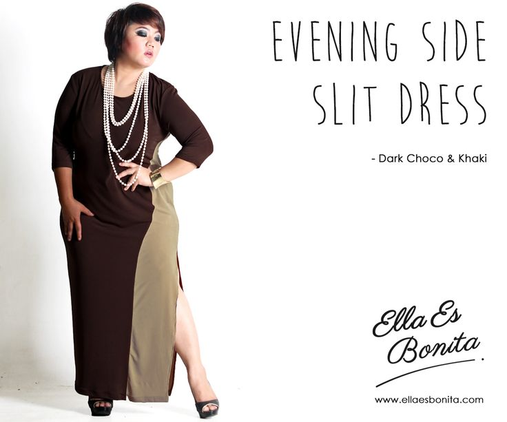 Evening Side Slit Dress - This dress features high quality jersey which specially designed for sophisticated curvy women originally made by Indonesian Designer & Local Brand: Ella Es Bonita. Available at www.ellaesbonita.com