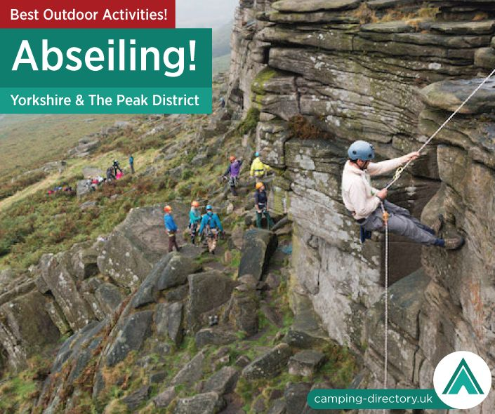 Outdoor Activity: Experience the thrilling rush of abseiling (rappelling) down a vertical face in beautiful Yorkshire & The Peak District. Outdoors. Camping. Campsite. Holiday. UK. Travel. England. Adventure.