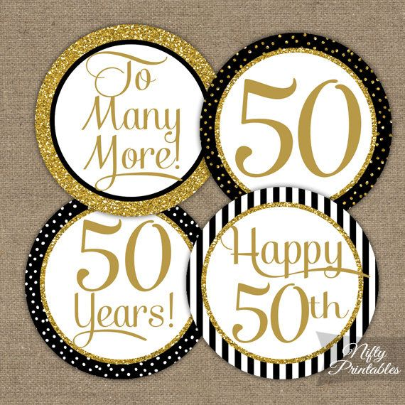 50th Anniversary Cupcake Toppers - Fiftieth Anniversary Black & Gold Glitter Printable - DIY 50 Year Anniversary Favor Tags Stickers - BGL