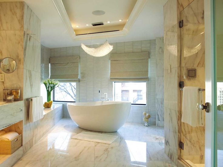 Bathroom, Exciting Modern Bathroom Remodel With Spacious Bathtub Round Models Together With Contemporary Chandelier Bathroom Remodel Idea Along With Colorful Natural Ceramic Design Ideas ~ The Most Effective Bathroom Remodel: Toilet and Floor