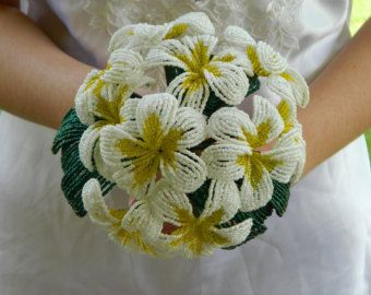 Silver and Gold French Beaded Flower Bridal Bouquet by BeadedFleur