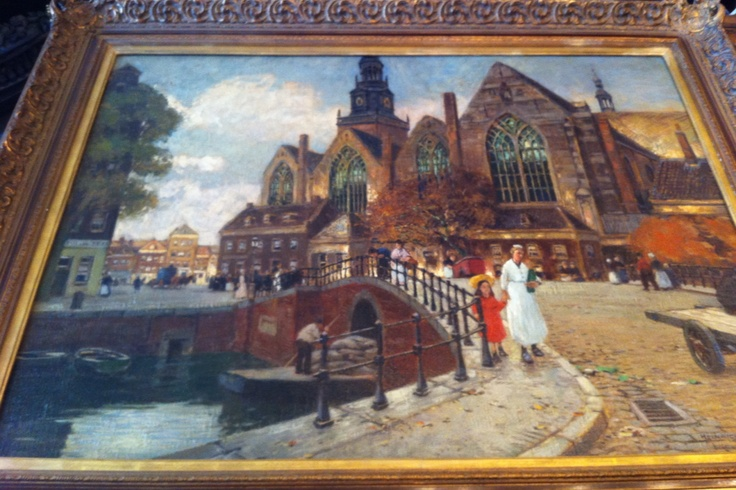 Painting Old church Amsterdam. H Hermans.