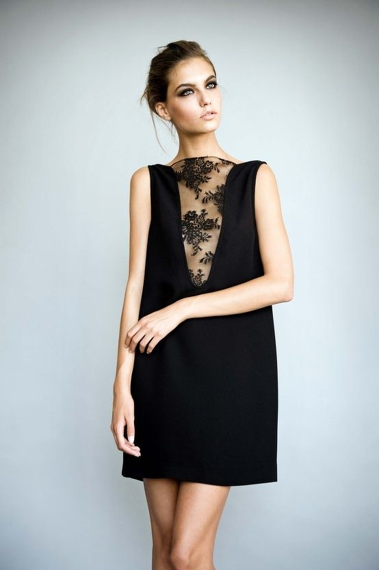 Little black dress with deep v-neck & black lace insert - modern elegance; chic style // Jessica Choay