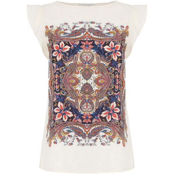 OASIS Nikita Paisley T-Shirt (£45) ❤ liked on Polyvore featuring tops, t-shirts, multi, slouchy tee, paisley top, denim top, oasis t shirt and flutter sleeve top
