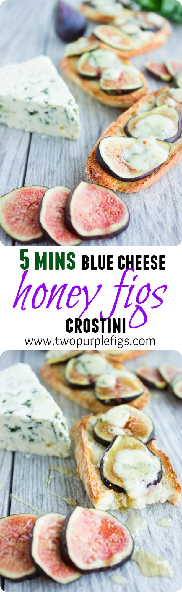 This is a 5 min. blue cheesy, sweet, crunchy, fruity and an easy way to serve up crostini. Impress your tastebuds with those fruity little bites! www.twopurplefigs.com