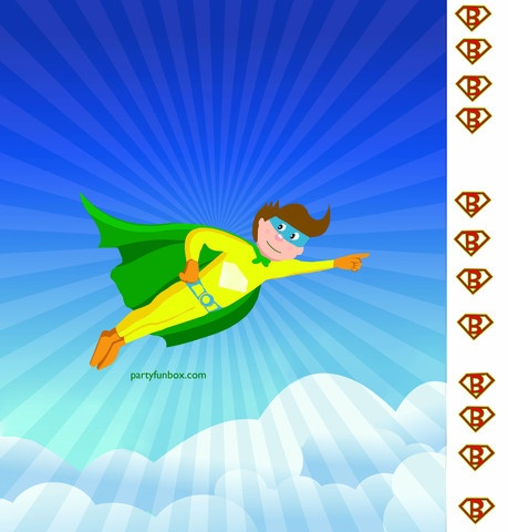 Pin the Emblem on the Superhero Game (12 Page PDF) Print, Trim, and Tape together. Up, up and Awaaay!