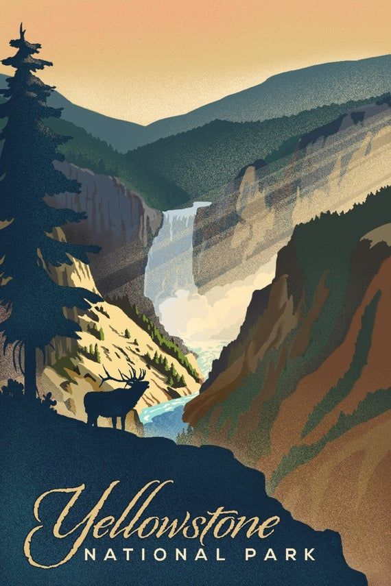 Yellowstone National Park – Yellowstone Falls – Lithograph (Art Prints, Wood & Metal Signs, Canvas,