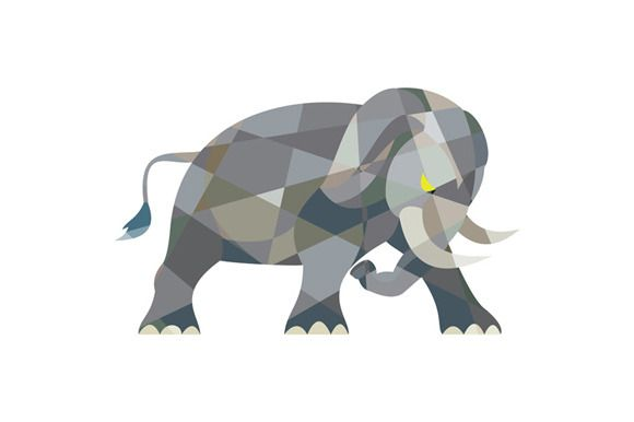 Elephant Attacking Side Low Polygon by patrimonio on Creative Market