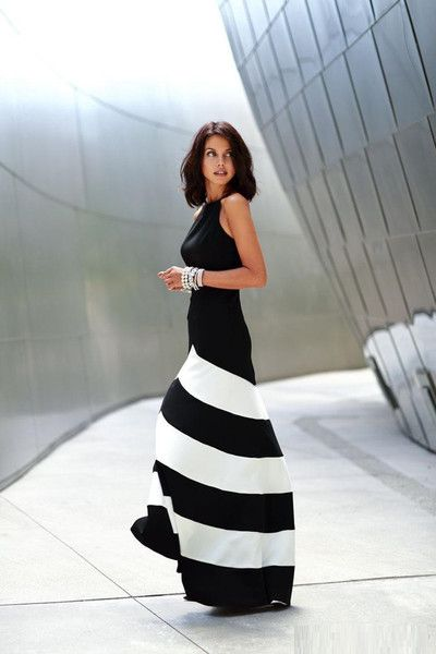 High quality women casual halter dress Slim waist sleeveless striped long dresses clothes.Wear this dress with patent single soles to perfect your elegant look.