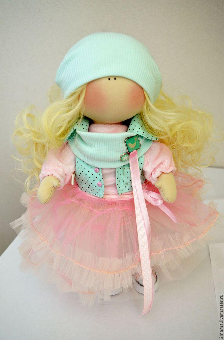 Купить Кукла текстильная интерьерная Pink Cake - мятный, розовый, кукла, большеножка, Снежка, коннэ