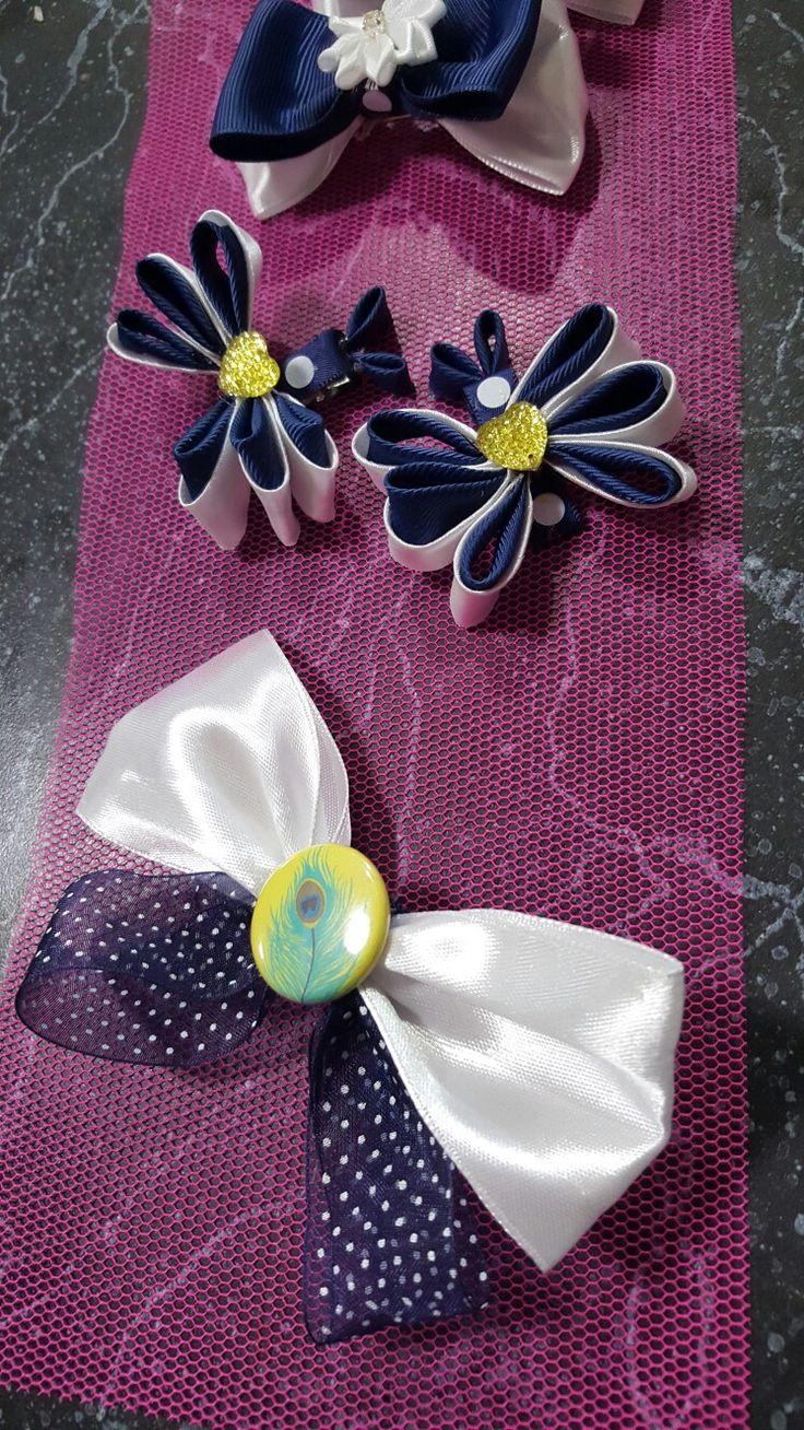 Hair ribbons navy blue white school... shaz