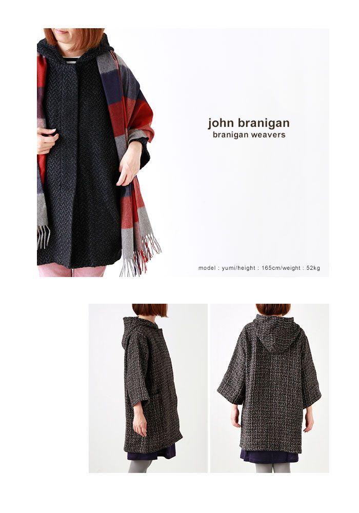 johnbranigan(ジョンブラニガン)フード付きジャケットtuniccoat-tweed